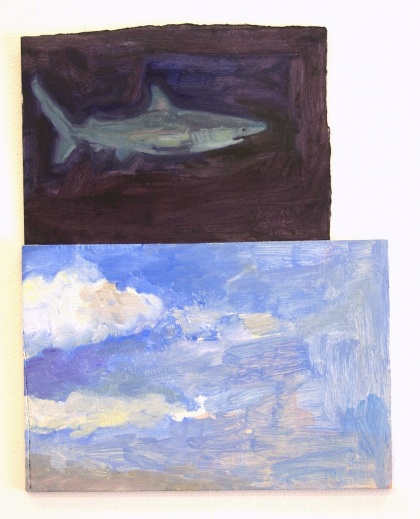 Chance Encounter: Bronze Whaler, Clouds before lunchtime oil and acrylic on paper and board 34cm x 26cm