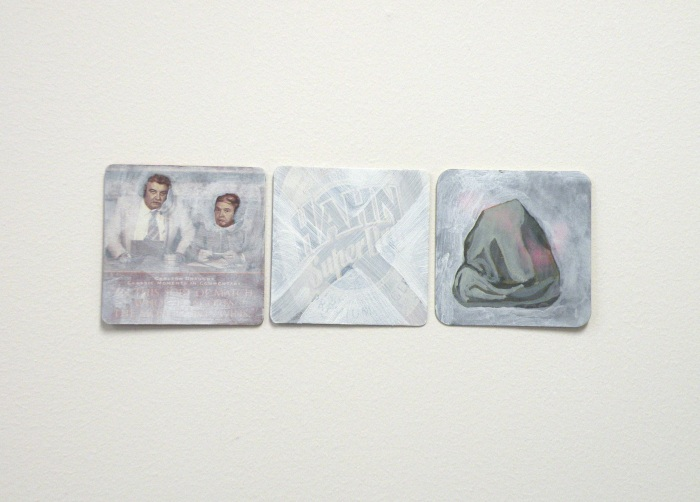 Super Dry Giotto Experiment 2009 acrylic and gesso on paper beer coasters 10cm x 30cm