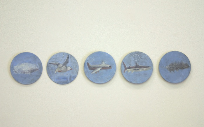 An Adjective Is A Noun 2009 acrylic and gesso on paper beer coasters 10cm diameter x 5