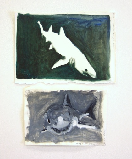 Pessimistic Grey Nurse, Optimistic Great White 2009 oil and acrylic n paper 40cm x 35cm