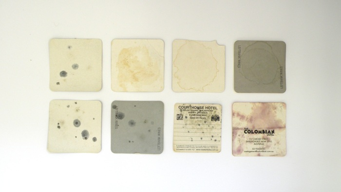 Found stains on paper been coasters 2009