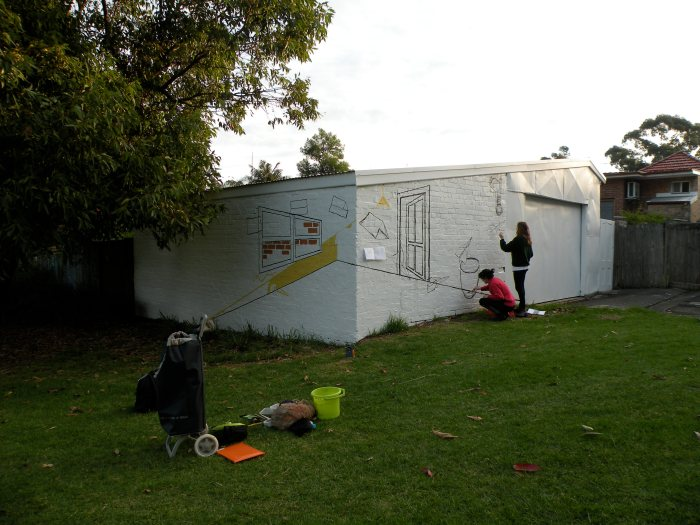 3. Ida Lawrence & Caitlin Hespe. Mural, in process. House paint on wall. 2010