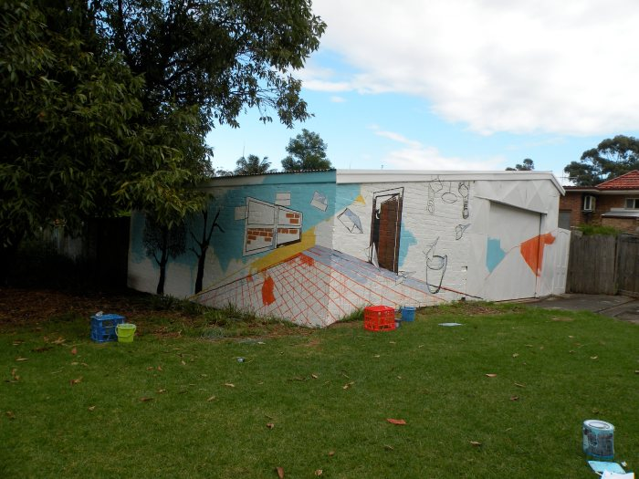 4. Ida Lawrence & Caitlin Hespe. Mural, in process. House paint on wall. 2010