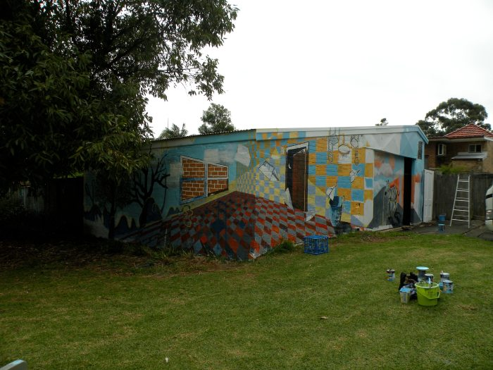 6. Ida Lawrence & Caitlin Hespe. Mural, in process. House paint on wall. 2010