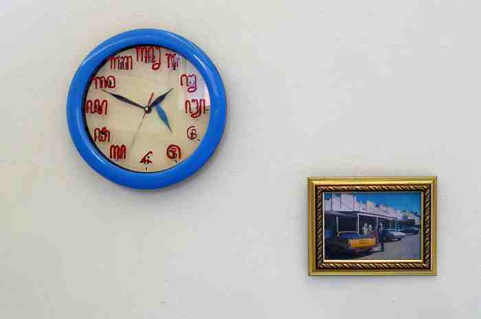 Good Times 2012 acrylic, enamel, clock, photograph, frame