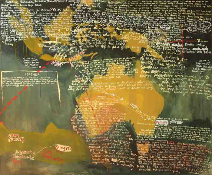 Map for Pakdhe Daliman and Uncle John 2012 acrylic on canvas 150cm x 180cm
