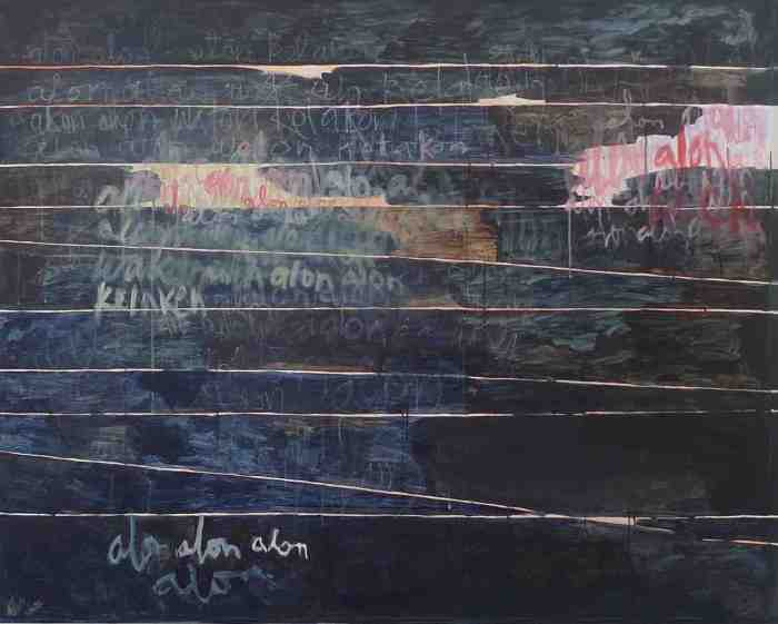More or Les: language exchange between Pakdhe Daliman and Uncle John (Practising Alon-alon) 2012 acrylic and pastel on canvas 122cm x 152 cm