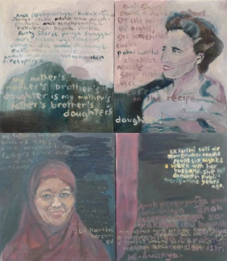Not Actually Inbred (Aunty Sheree and Lik Kartini) 2013 oil and acrylic on canvas, 4 panels 64cm x 76cm