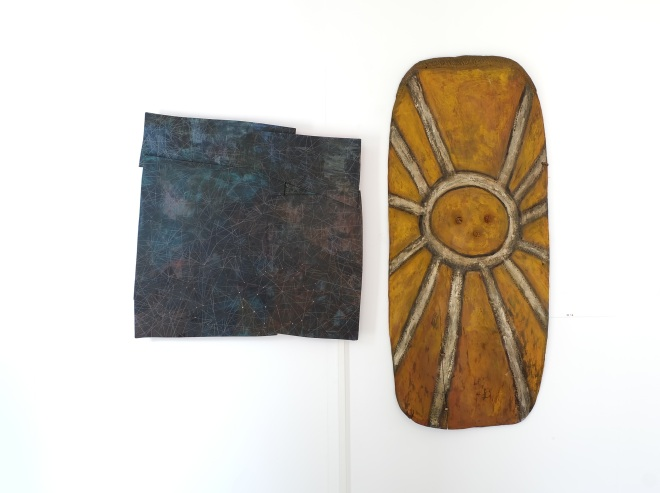 Tangled Constellations (left); Wahgi Valley Fighting Shield, Western Highlands, Papua New Guinea (right)