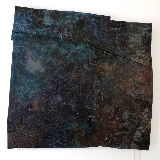 Ida Lawrence, Tangled Constellations 2014-2015 acrylic and pencil on plywood, light, 93 cm x 92 cm