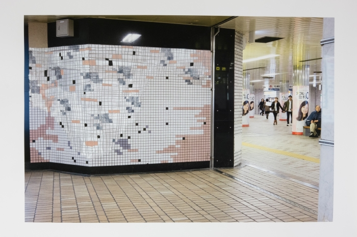 Failed Restoration (Subway Sapporo Station, Sapporo) / 失敗した修復(地下鉄札幌駅,札幌) 2015 pencil, gouache, watercolour and acrylic on pigment print, 33 x 48 cm