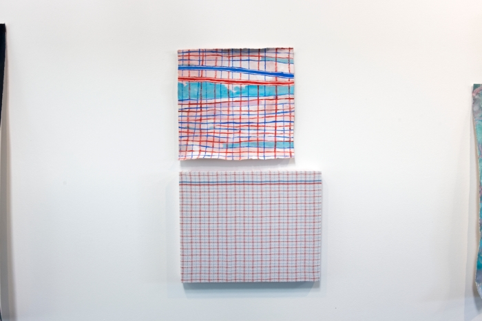 Pale Imitation (Red and Blue Stripes) acrylic on canvas, 40 x 43 cm; tea towel