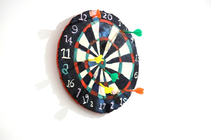 Ida Lawrence - Good Enough 2016, acrylic and darts on board, 33cm diameter