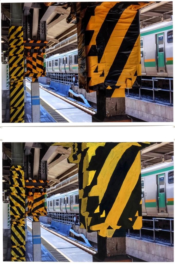 Failed Restoration (Station Platform, Tokyo) 2016, gouache on pigment print on Hahnemühle cotton rag, 21 cm x 30 cm x 2