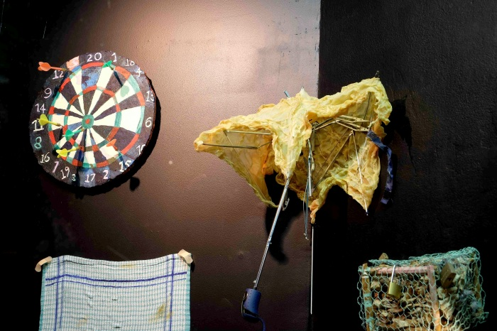 Good Enough (dart board, acrylic, darts), Carcass (umbrella remains, latex flesh)