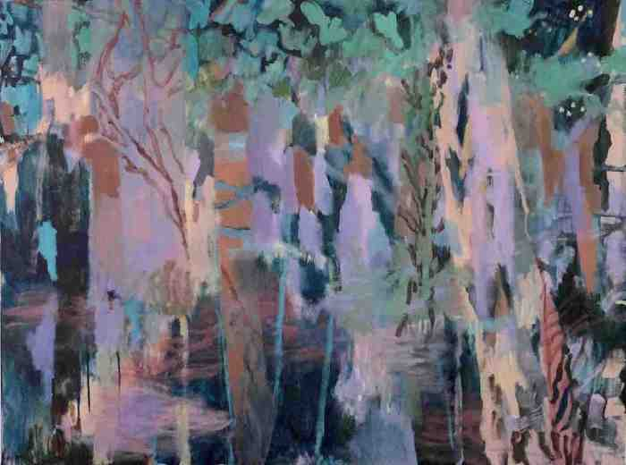 Moody, mysterious painting based on the shapes of eucalypt trees