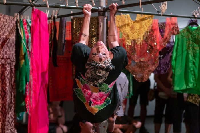 Alfira O'Sullivan performing Weekends are for washing at the launch of looking here looking north. Image care of Casula Powerhouse Art Centre. Photography by Chantel Bann.jpg