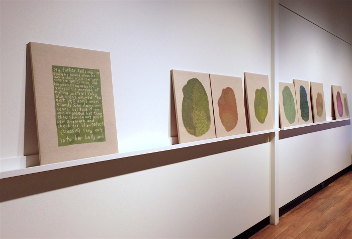 Ida Lawrence, A story my father heard as a child 2019, acrylic on linen on board, 9 panels, dimensions variable installation.JPG