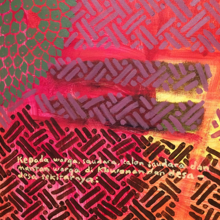 Ida Lawrence, detail3, A village and surrounds III (kehidupan baru) 2019 acrylic on unstretched canvas, 160x185cm. Photo Ida Lawrence.jpg